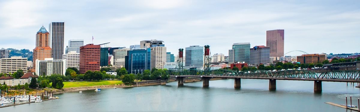 Panorama Of Downtown Portland, Oregon Skyline